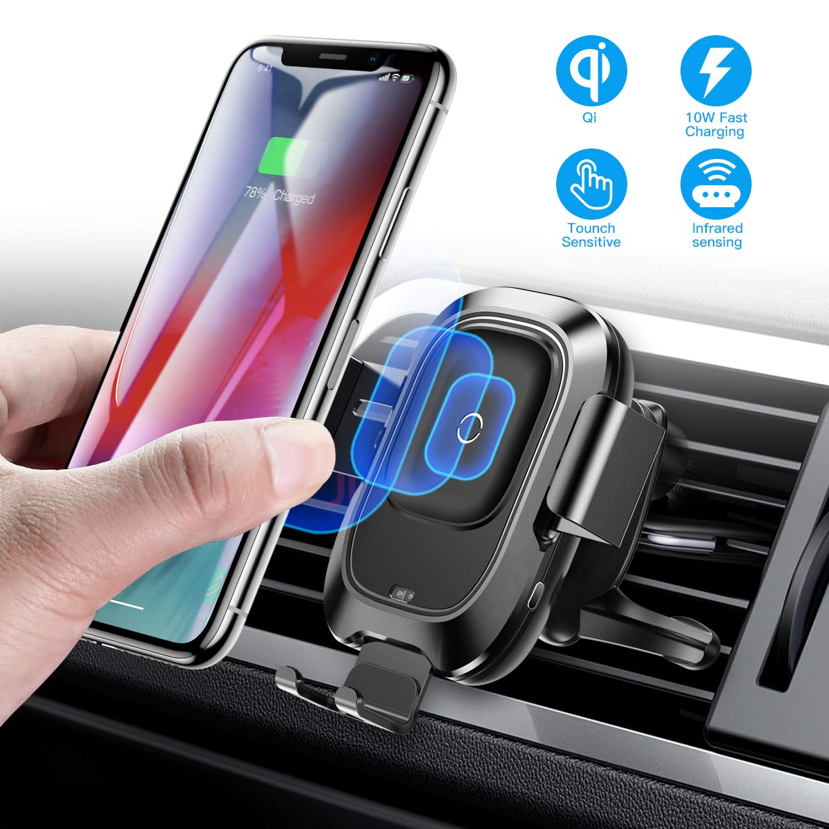 Baseus Wireless Car Charger Mount, 10w Automatic Clamping Air Vent Qi Fast Charging Car Phone Holder Compatible with iPhone Xs/Xs Max/XR/X, Galaxy Note 9/ S9/ S9+ & Other Qi-Enabled 4.7-6.5Inch by Baseus