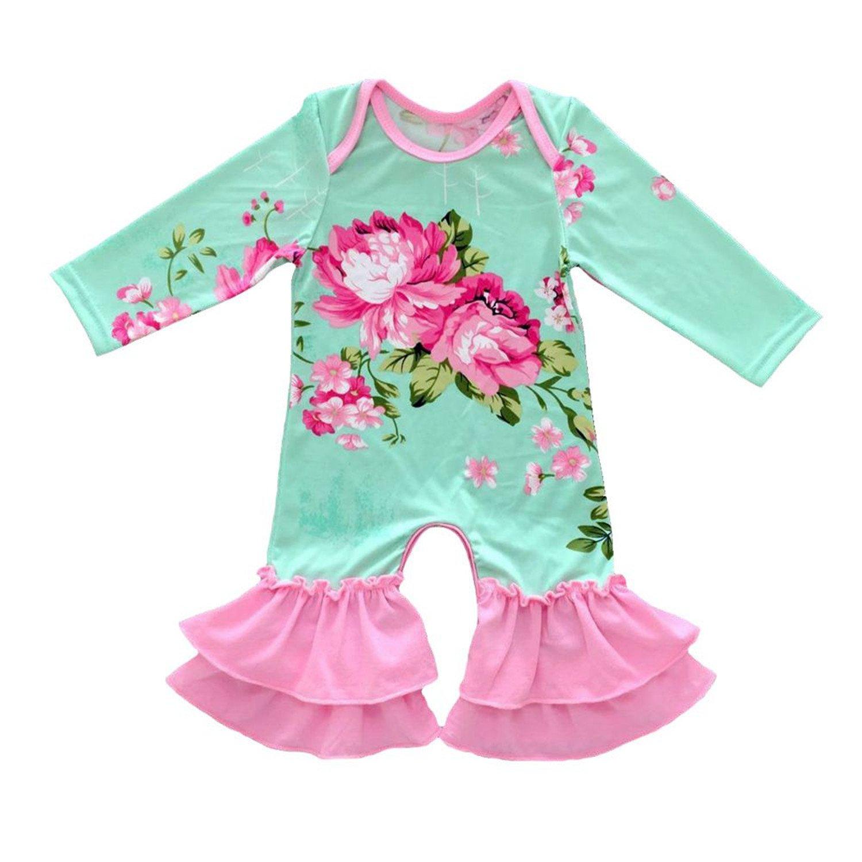 Baby Girls Bull Pajamas Icing Ruffled Romper Baby Girls Thanksgiving Leg Romper