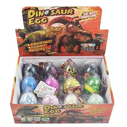 Dino Dinosaur Dragon Eggs Hatching Growing Toy Large Size Pack of 12pcs,mix  colors by Yeelan