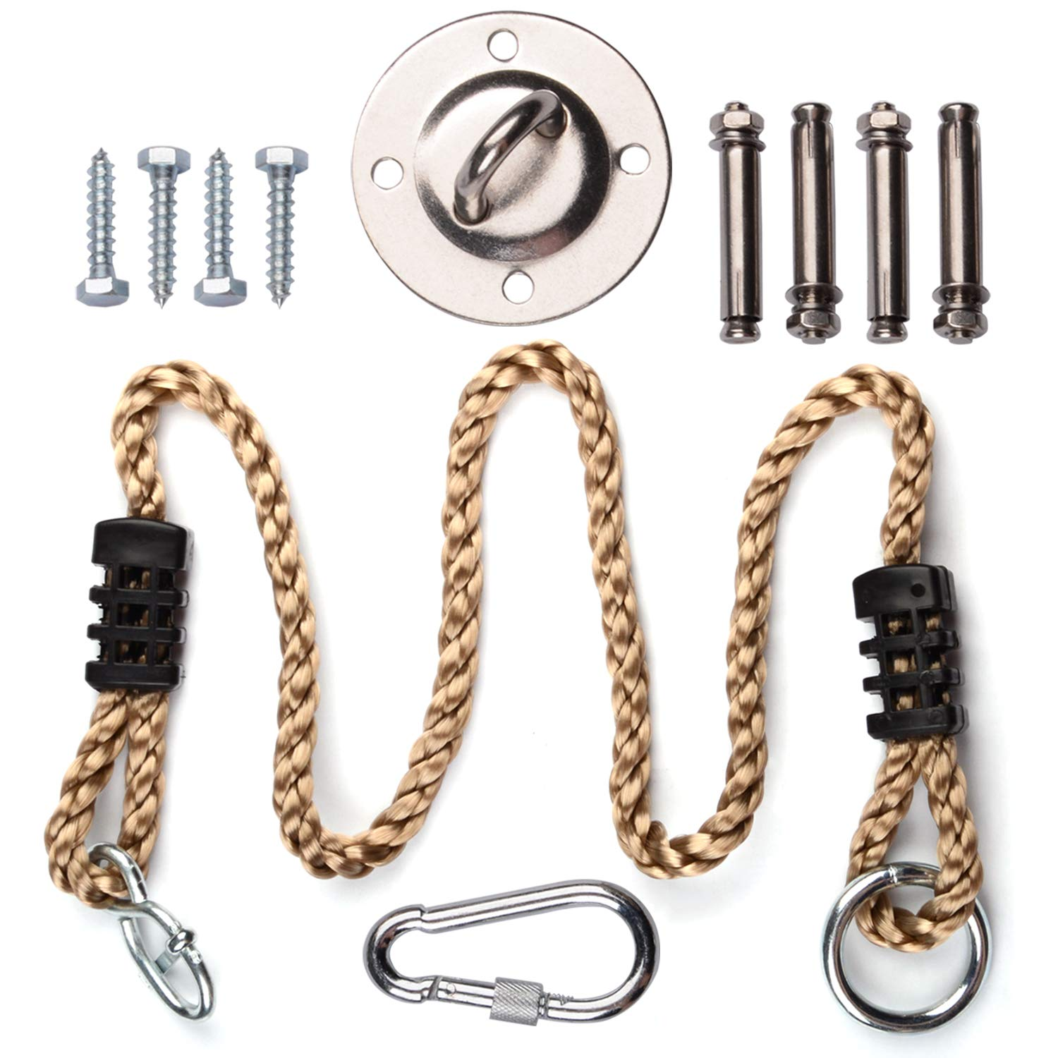 Amotor Hammock Hanging Kit, Stainless Steel Hammock Hook 600 LB with 40″ Nylon Rope for Hammock, Hanging Chair, Punching Bag, Yoga Training, Ceiling,Swings