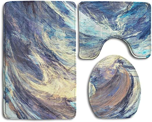 Amazon Com Newpapa Icy Clouds Artistic Splashes Of Bright Paints Abstract Blue Color Background With Lighting Effect White Non Slip 3 Piece Bath Mat Pedestal Rug Lid Toilet Cover Bath Mat