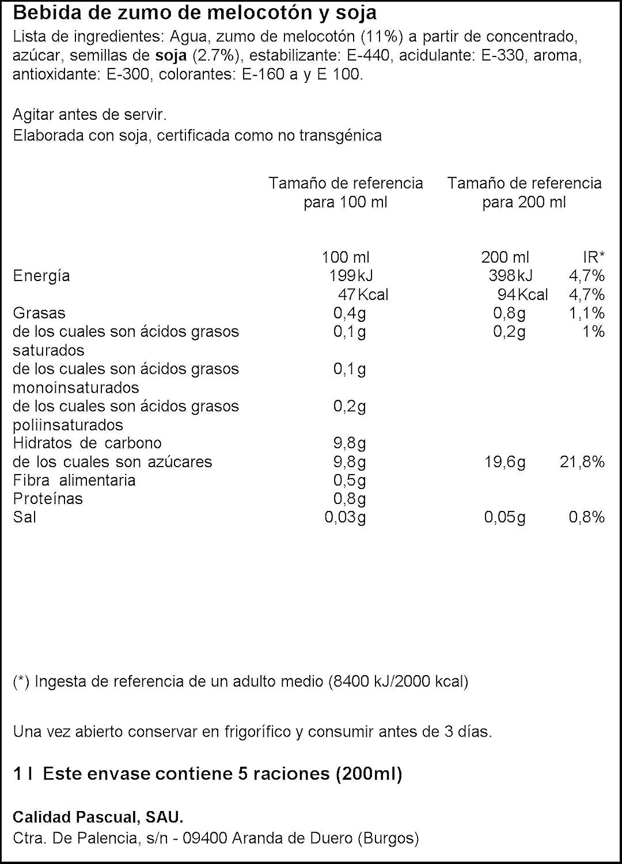 Vivesoy - Bebida de Zumo de Melocotón y Soja - 1 L: Amazon.es ...
