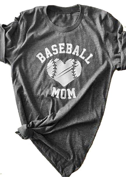 1589d2e9 KIDDAD Women's Baseball Mom Heart O-Neck T-Shirt Letter Printed Short Sleeve  Casual