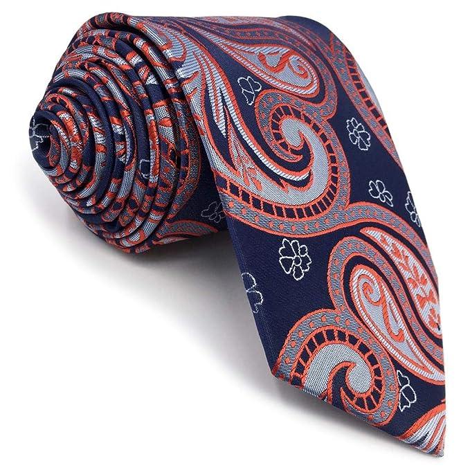 shlax&wing único La Moda Hombre Seda Corbatas Para Azul Naranja ...