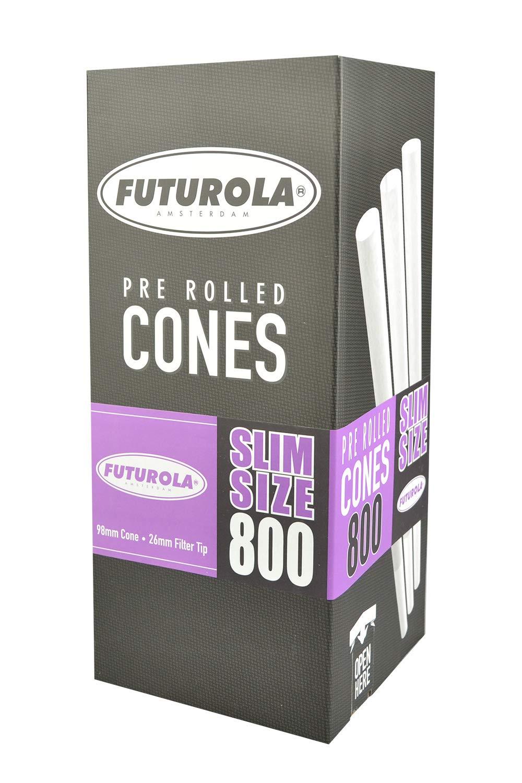 800pc Box - Futurola Slim Size Cones - 3 3/4'' / White