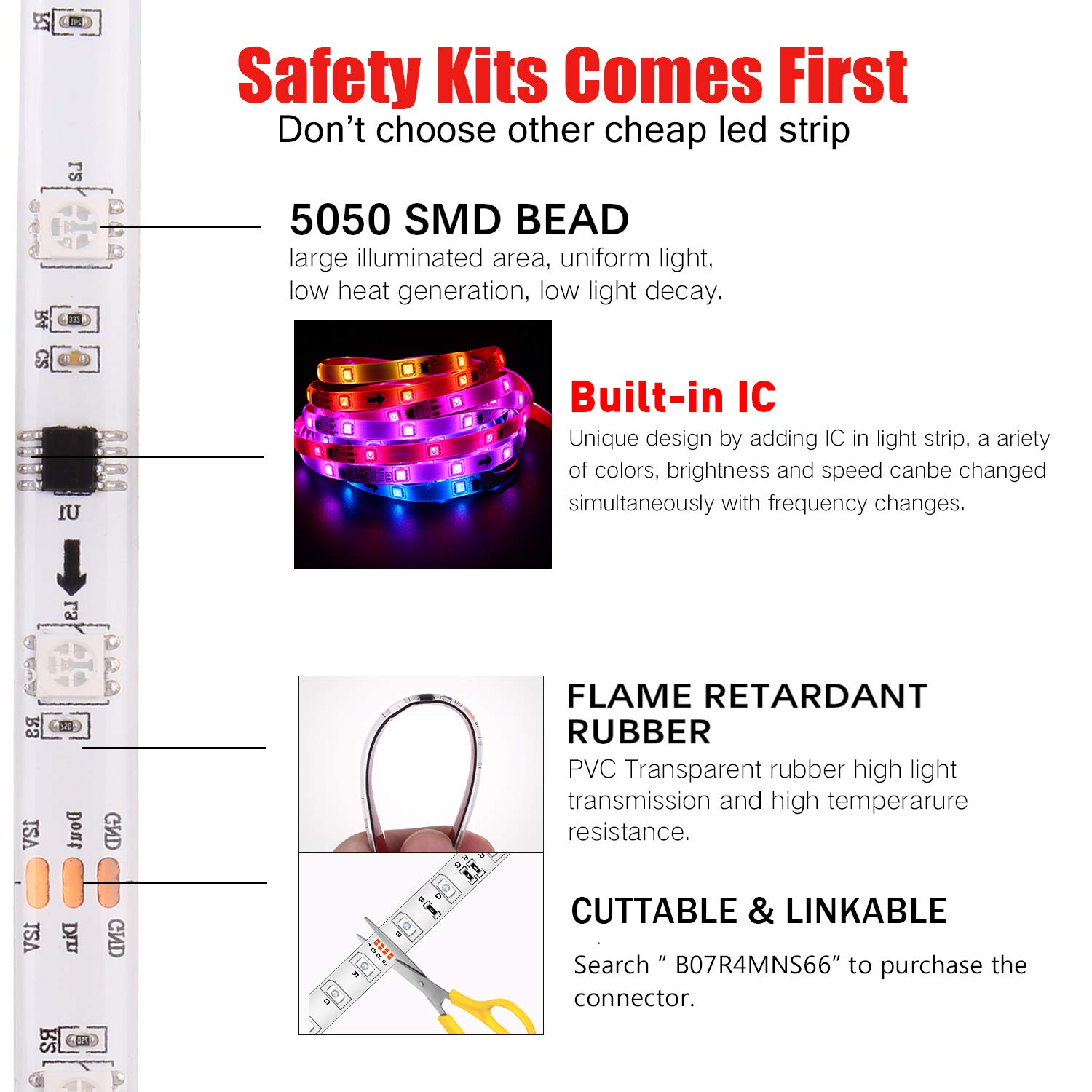 LED Strip Lights Built-in IC with App, 32.8ft/10m LED Chasing Light, 12V 5050 RGB Waterproof 300Leds Flexible-Lighting, Dream Color Changing Rope Lights Kit with Adhesive for Home Kitchen by Sanwo (Image #5)