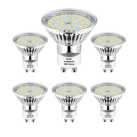 GU10 LED Warmweiss, Wowatt 6er LED GU10 Lampe 5W 230V ersetzt 40W 35W 30W 25W 20W GU10 Halogenlampe 420lm Warmweiß 2800K AC 2