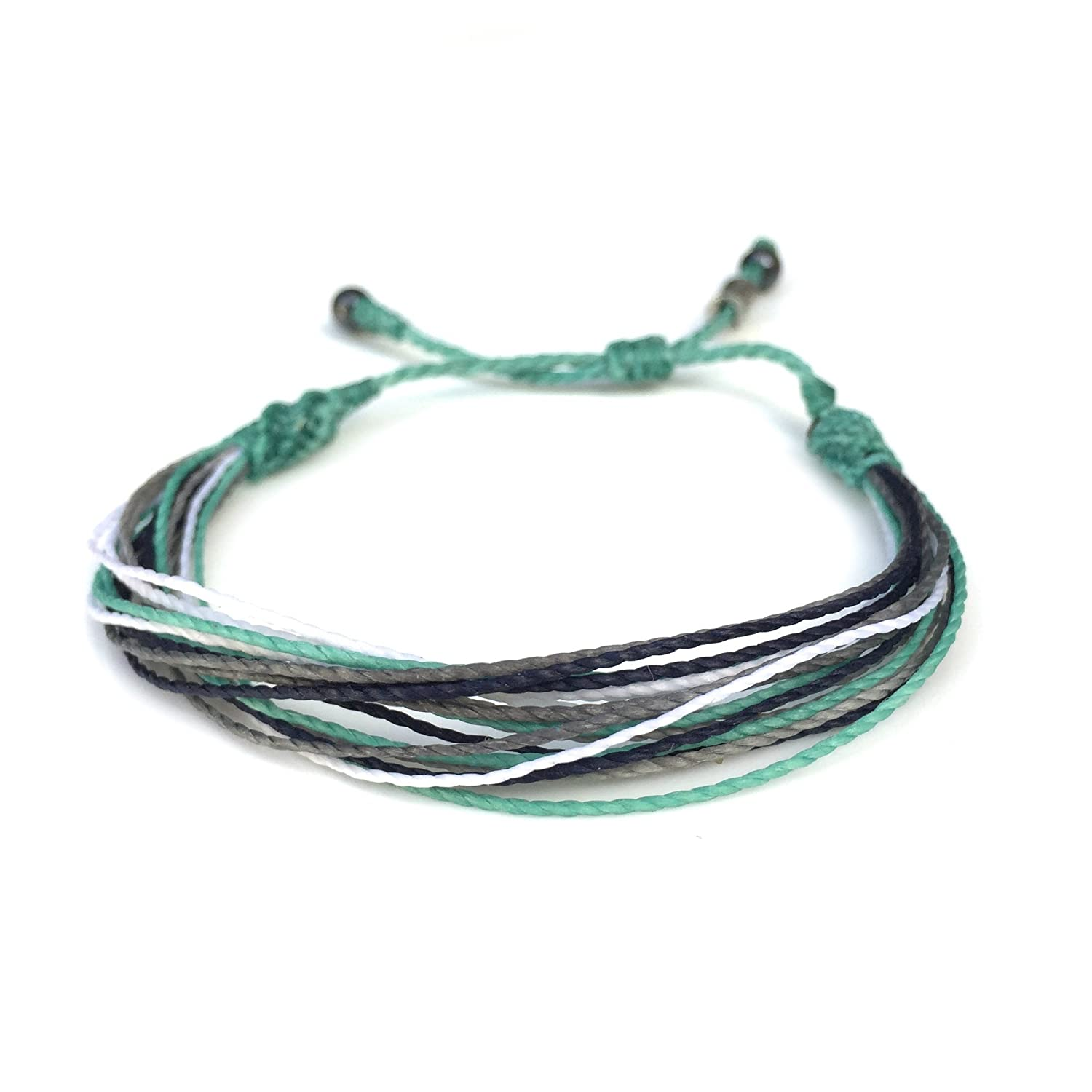 Surfer String Bracelet for Men and Women with Hematite Stones: Handmade Pull Cord Adjustable Friendship Bracelet by Rumi Sumaq