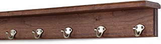 "product image for PegandRail Solid Cherry Shelf Coat Rack with Satin Nickel Single Style Hooks (Mahogany, 26"" with 5 Hooks)"