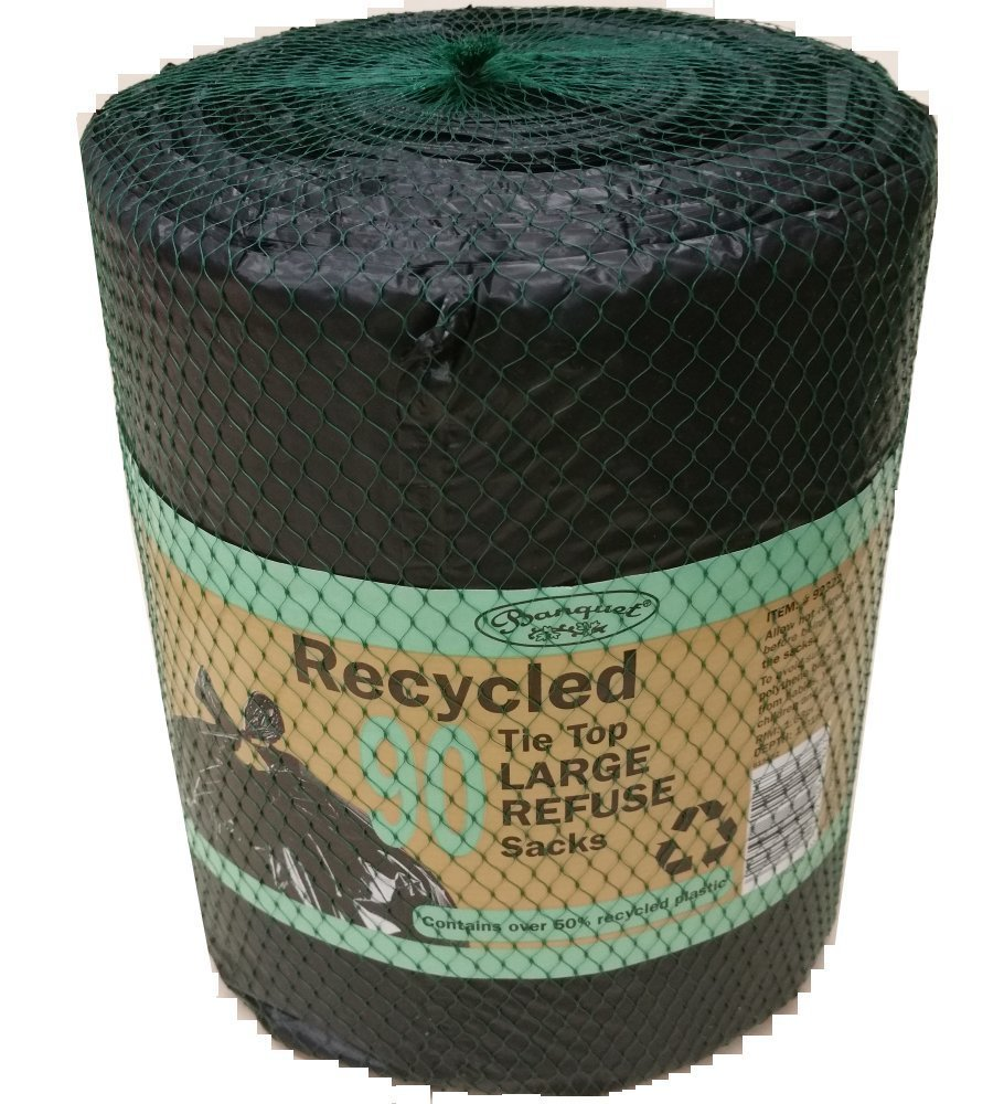 3 x Banquet recycled tie top large refuse sacks (270 Bags In Total)