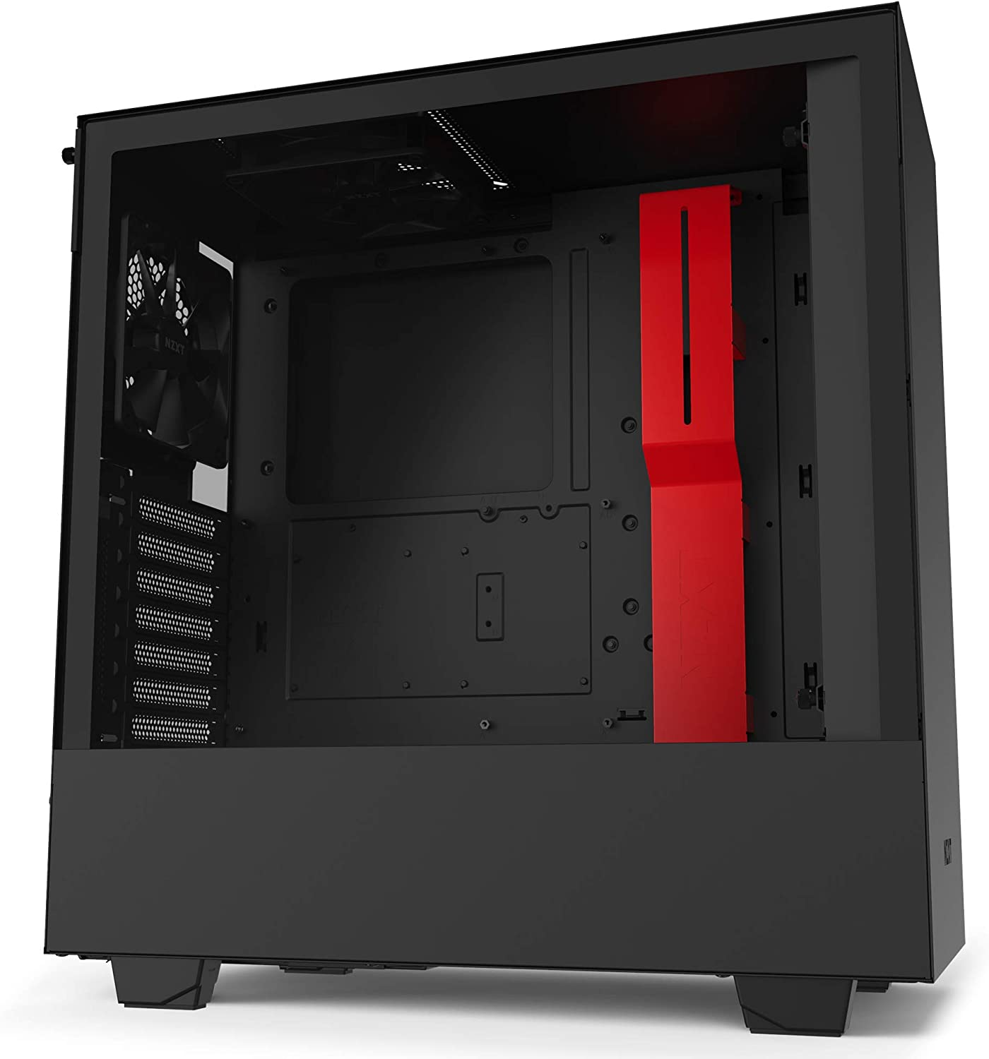 NZXT H510 - CA-H510B-BR - Compact ATX Mid-Tower PC Gaming Case - Front I/O USB Type-C Port - Tempered Glass Side Panel - Cable Management System - Water-Cooling Ready - Black/Red