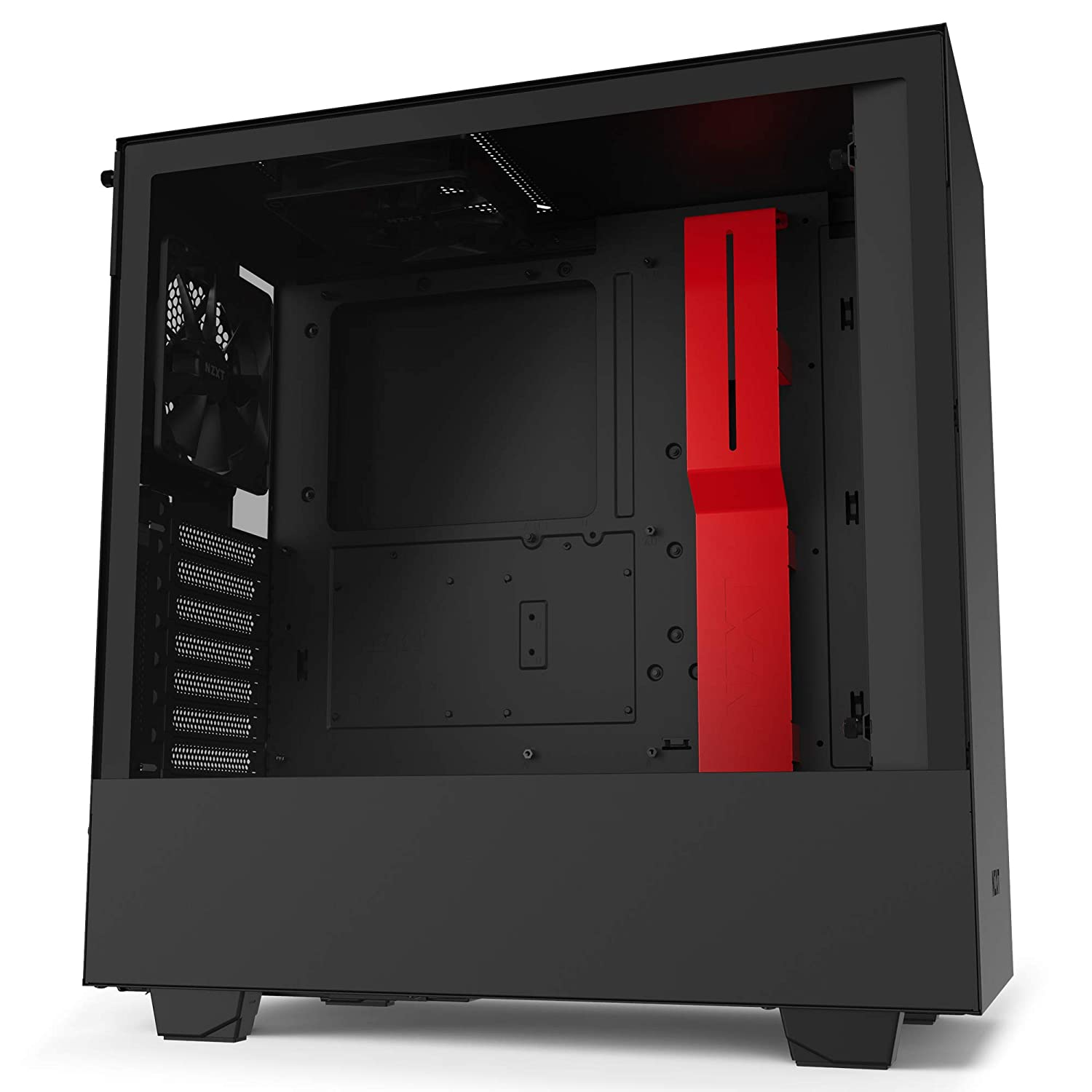 NZXT H510 - Compact Atx Mid-Tower PC Gaming Case - Front I/O USB Type-C Port - Tempered Glass Side Panel - Cable Management System - Water-Cooling Ready - Steel Construction - Black/Red
