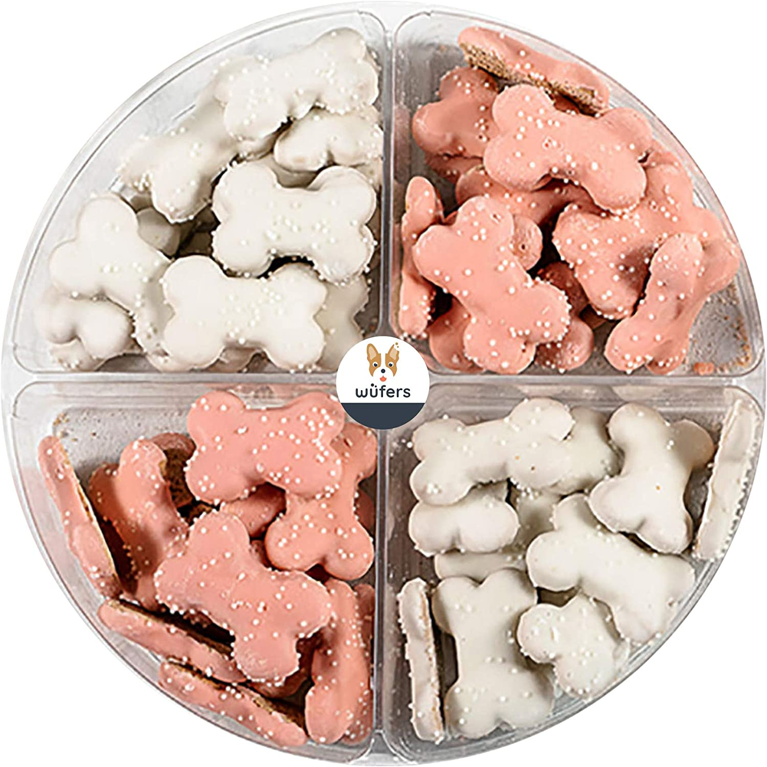 Wüfers Pink Endless Bones Dog Cookie Treats   Dog Treats for Small Dogs and Large Dogs   Frosted Dog Bone Biscuits Handmade and Hand-Decorated with Locally Sourced Ingredients