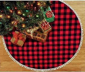 ZSport Christmas Decor Red and Black Buffalo Plaid Tree Skirt with Pompom Buffalo Plaid Christmas Tree Skirt 48 Inch Buffalo Check Tree Skirt Red and Black Christmas