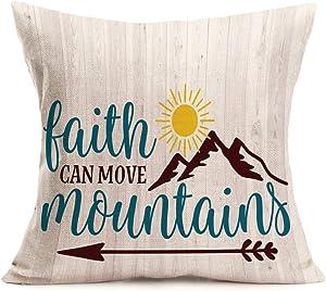 "Fukeen Jesus Biblical Christian Words Arrow Home Decor Pillow Cases Faith Can Move Mountains Matthew 17 20 Inspirational Lettering Throw Cushion Cover Cotton Linen Standard Pillowslip 18""x18"""