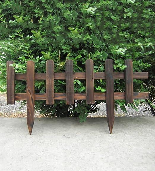 ZHANWEI Flores Escaleras Carbonizado de Madera sólida Valla de jardín de piquete Paneles de fachada de césped bordillo de cercado Conjunto (Color : YellowX2): Amazon.es: Jardín