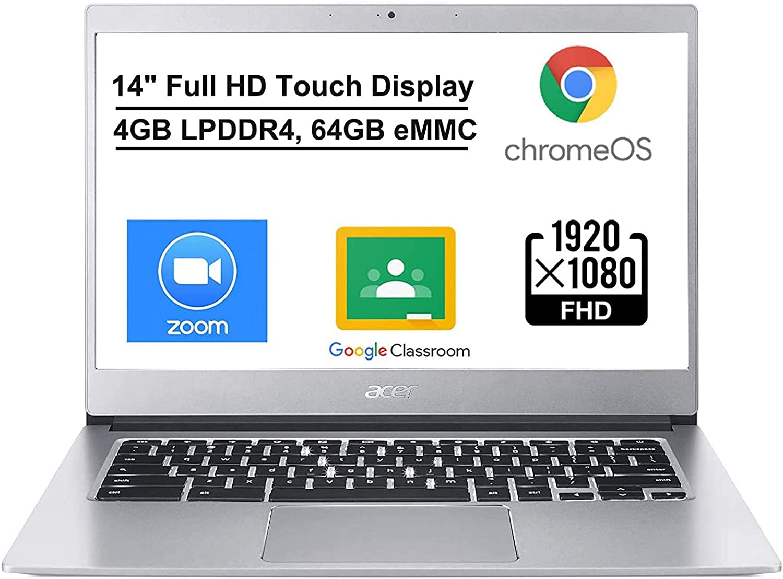 """Acer Chromebook 514, Intel Celeron N3450, 14"""" Full HD Touch Display, 4GB LPDDR4, 64GB eMMC, Backlit Keyboard, Google Chrome, Online Class Ready, Bundled with TSBEAU 128GB Micro SD Card"""