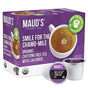 Maud's Chamomile Lavender Tea (Smile For The Chamo-mile) 24ct., Recyclable Single Serve Organic Decaf Tea Pods – 100% Organic Caffeine Free Herbal Tea California Blended, Keurig Lavender Chamomile Tea K Cups Compatible
