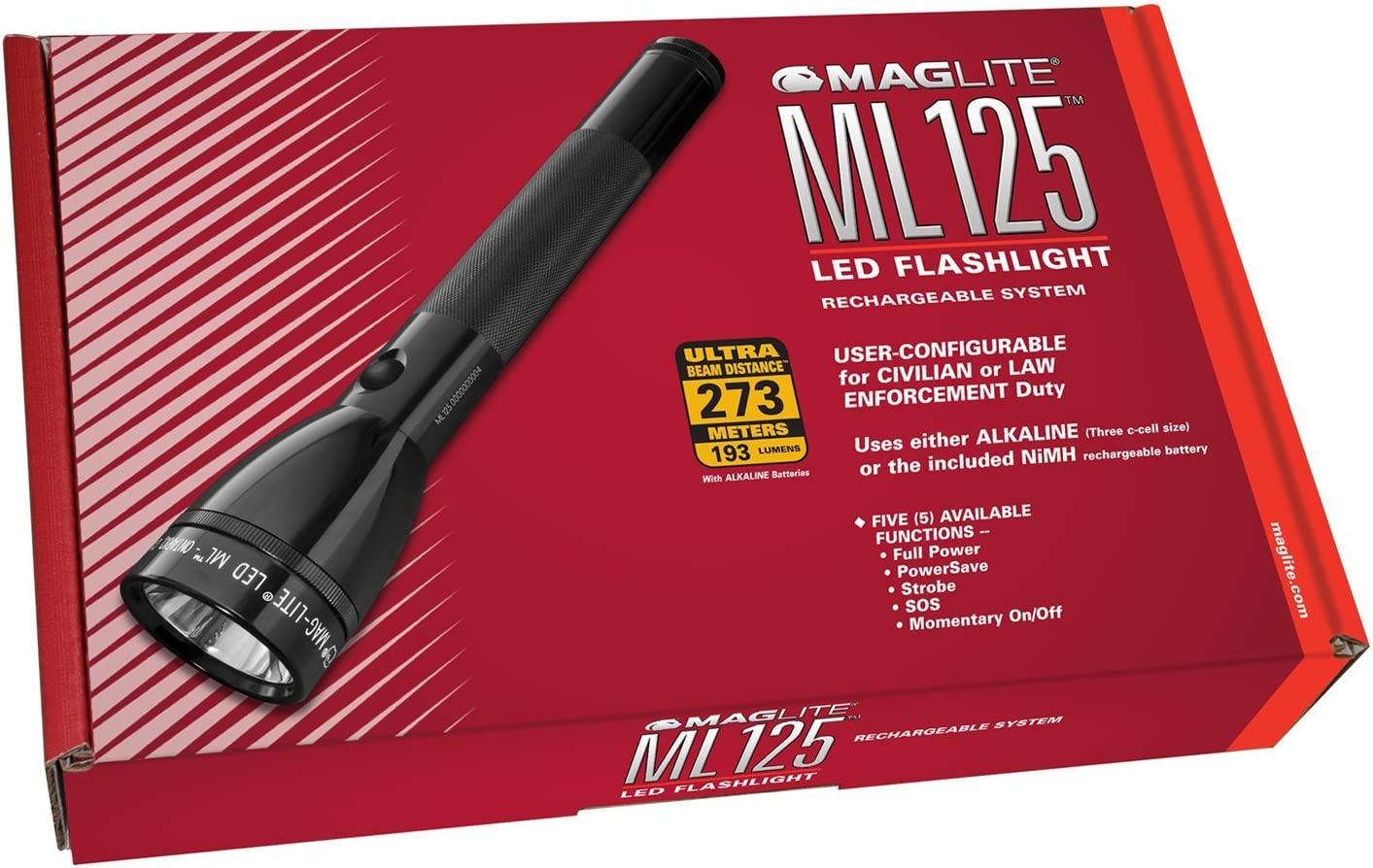 MagLite ML125 LED Flashlight - Rechargeable System - ML125-33014