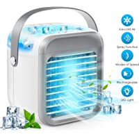 KoGI24 Portable Air Conditioner, Personal Air Cooler 3-in-1 Air Conditioner, Compact Evaporative Cooler Air Humidifier, 3 Wind Speed Desktop Air Conditioner Fan, Suitable for Home/Office