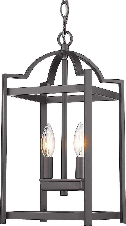 Emliviar 2-Light Lantern Pendant Light, Foyer Chandelier Hanging Light Fixture, Oil Rubbed Bronze Finish, P3038-2