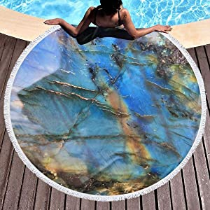 chenguang4422 Rainbow Moonstone Printed Round Beach Towel Yoga Picnic Mat Round Tablecloth Ultra Soft Super Water Absorbent Terry Towel with Tassels