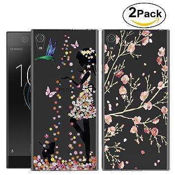 2 Pack Sony Xperia L1 Carcasa , YIGA Moda chica flor rosa ...