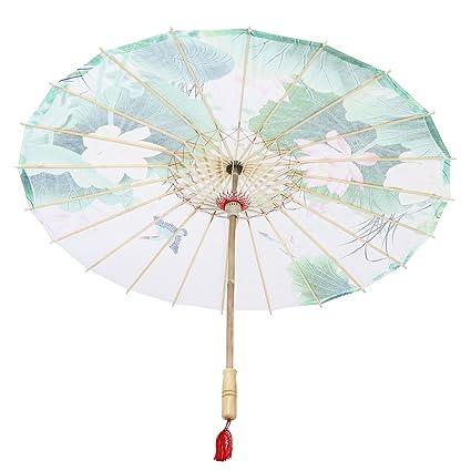 Healifty Aceite Papel Paraguas Personalizado Agua Ciudad Clásica Cos Paraguas no a Prueba de Lluvia Danza