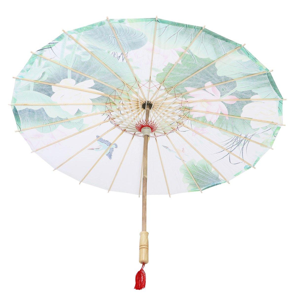 Healifty Oil Paper Umbrella Custom Water Town Classical COS Umbrella not Rainproof Dance Chinese Style Craft Umbrella Prop (Green)