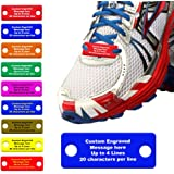 Waterproof Shoe ID Tag Personalized Impact Acrylic - in Case of Emergency Identification for Runners, Cyclists, Athletes…