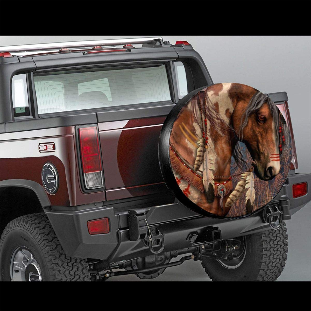 Spirit Indian War Horse Potable Polyester Universal Spare Wheel Tire Cover Wheel Covers Jeep Trailer RV SUV Truck Camper Travel Trailer Accessories 17 in Vbnbvn Housses de pneus