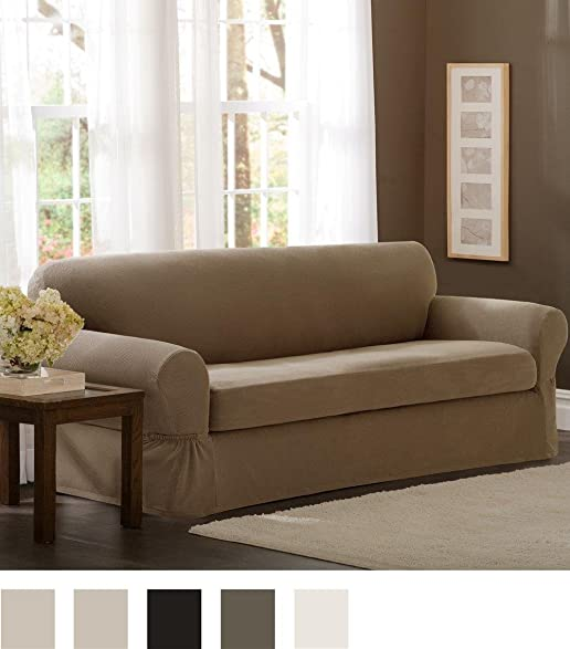 Amazon Maytex Pixel Stretch 2 Piece Sofa Slipcover Sand