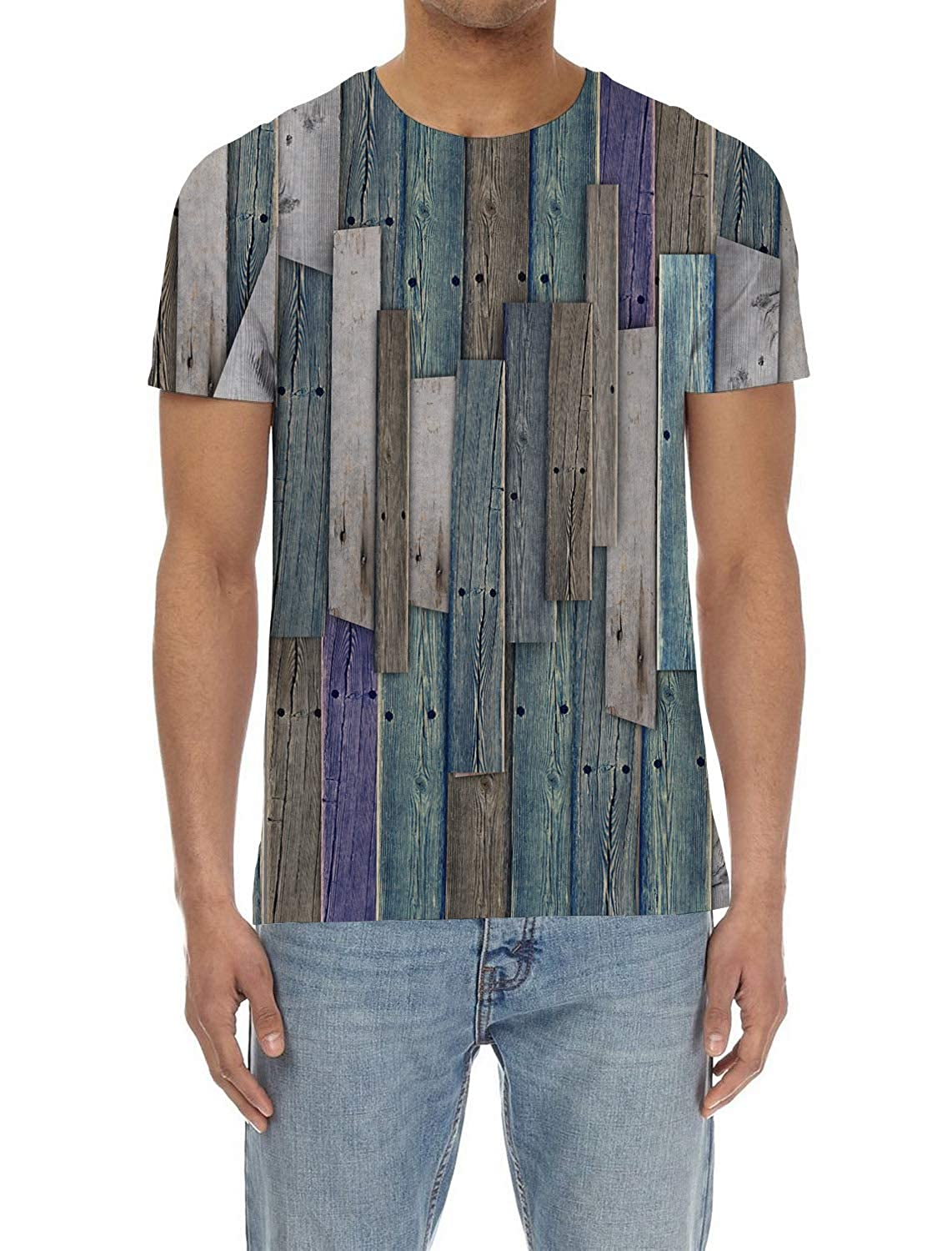 SunShine Day Wooden Rustic Mens Everyday ComfortSoft Short Sleeve T-Shirt for Workout Running Sports