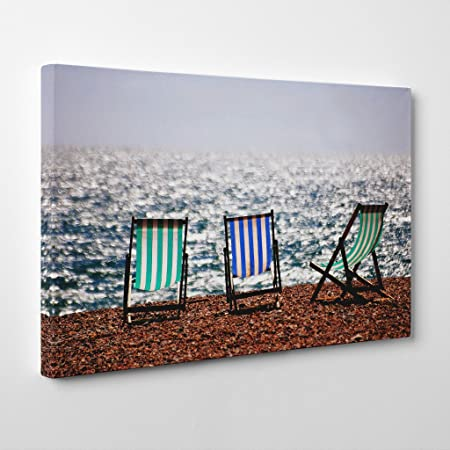 Big box art arty pie landscape brighton beach deckchairs print canvas multi colour