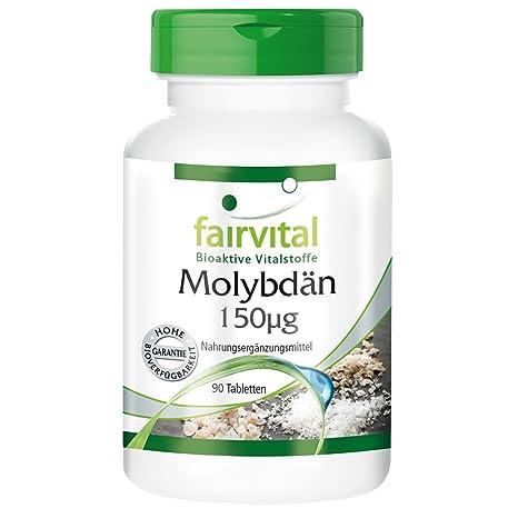 fairvital - 90 pastillas de molibdeno (150mcg) - Sustancia pura - Oligoelemento esencial y