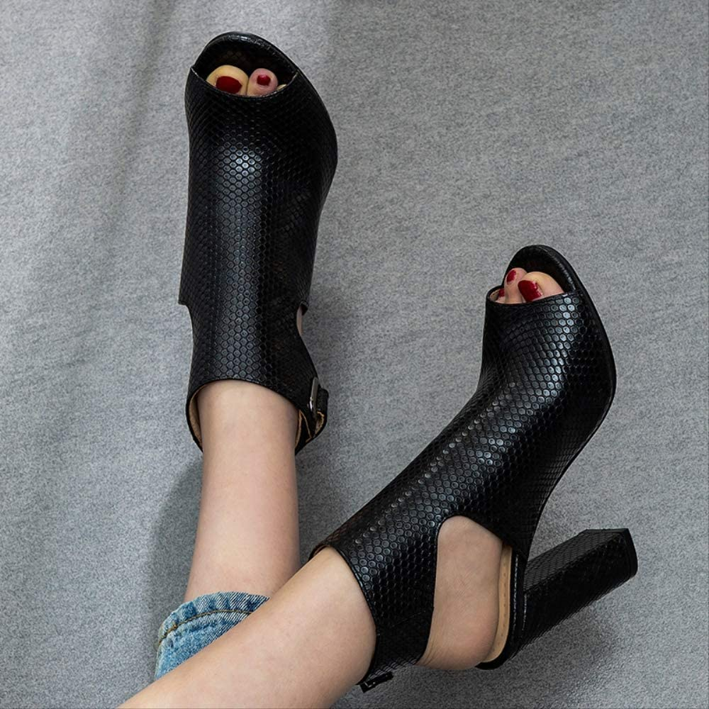SHZSMHD Zomer Nieuwe Serpentijn Gladiator Sandalen Peep Toe Schoenen Hollow Out Heel Pompen Sandalen Hakken Vrouwen Mode Enkellaarzen Zwart