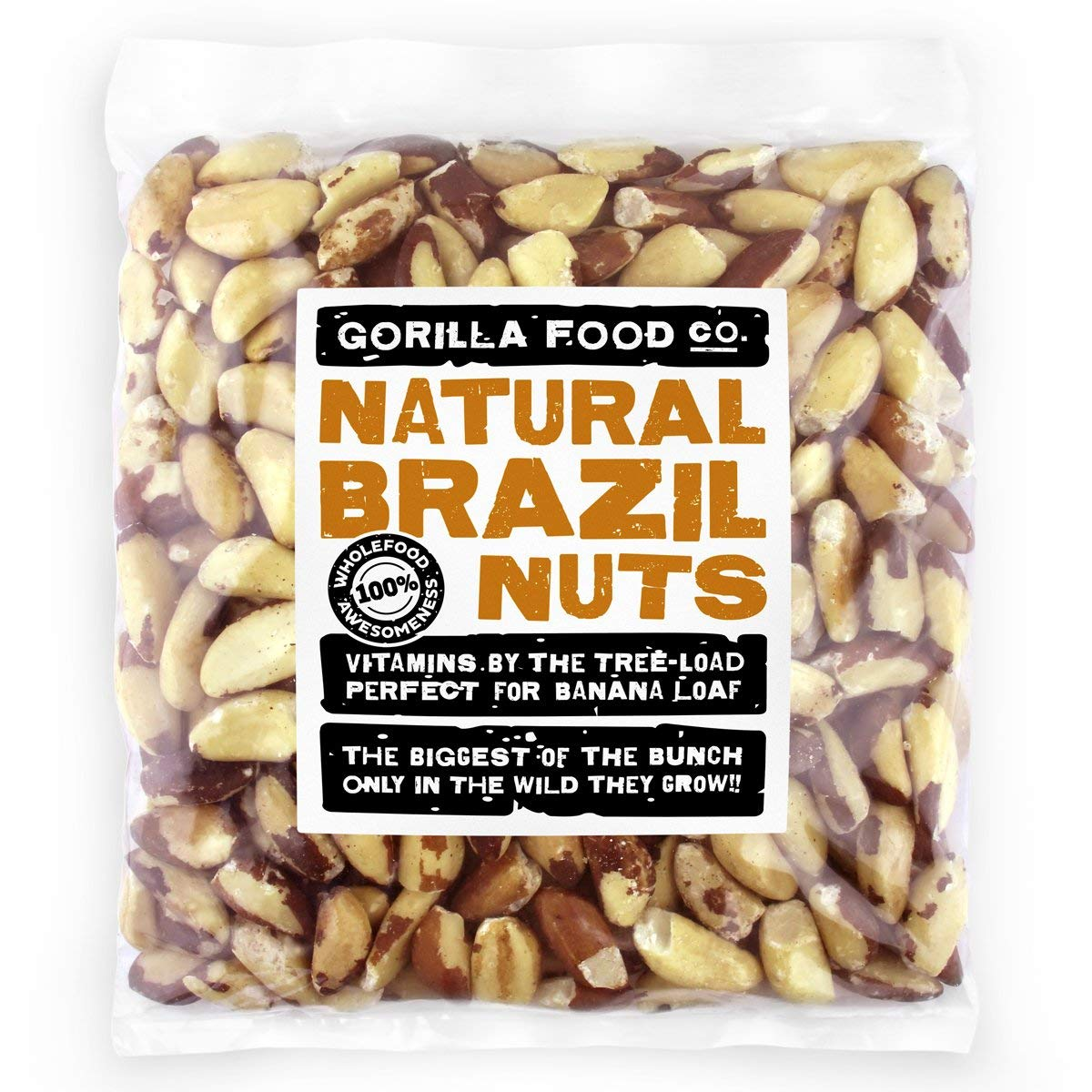 Premium Brazil Nuts Raw Whole - 2Lb Resealable Bag by Gorilla Food Co