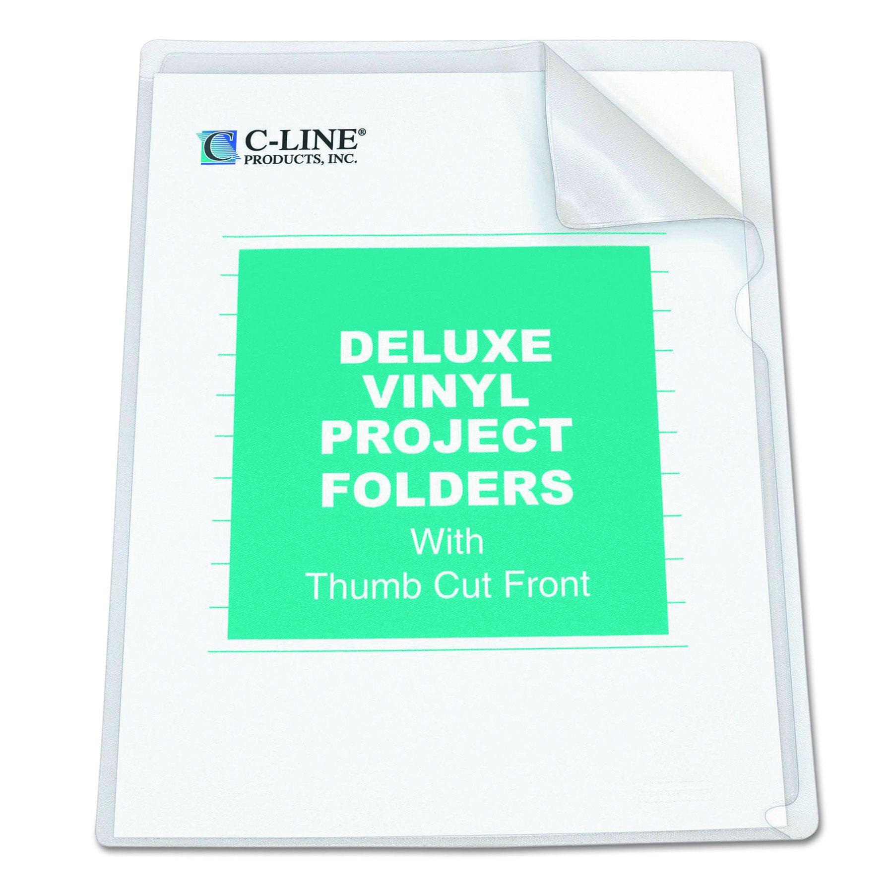 C-Line Deluxe Super Heavyweight Non-Glare Vinyl Project Folders, Letter Size, Clear, 50 per Box (62138)