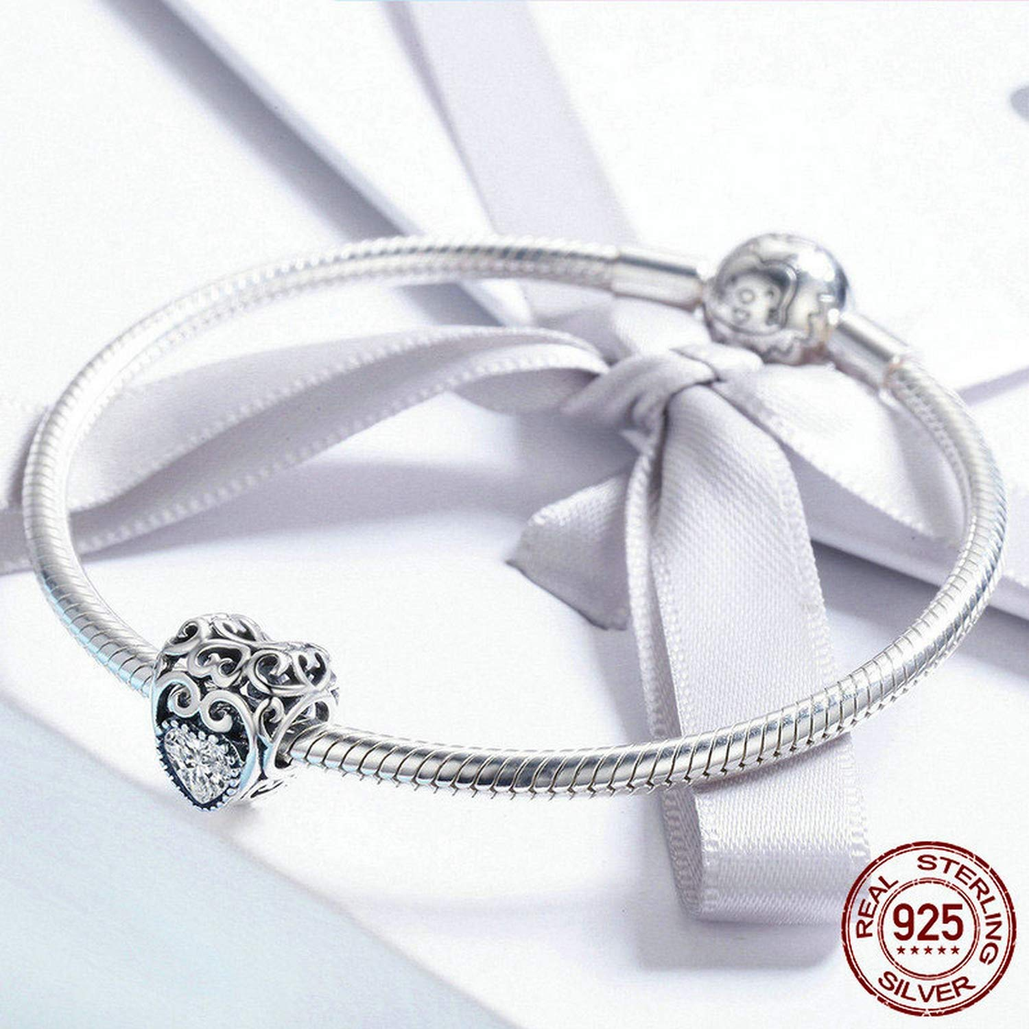 EverReena Love April Birthstone Signature Heart Silver Beads Bracelets