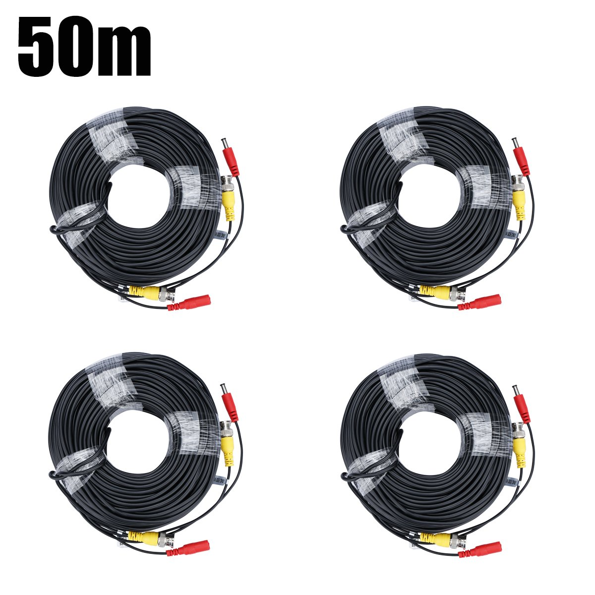 BNC Video Power Cable FLOUREON CCTV Security Camera Wire Cord for DVR House Security Camera System 100/150 Feet Long (4 Pack 150FT Cable)