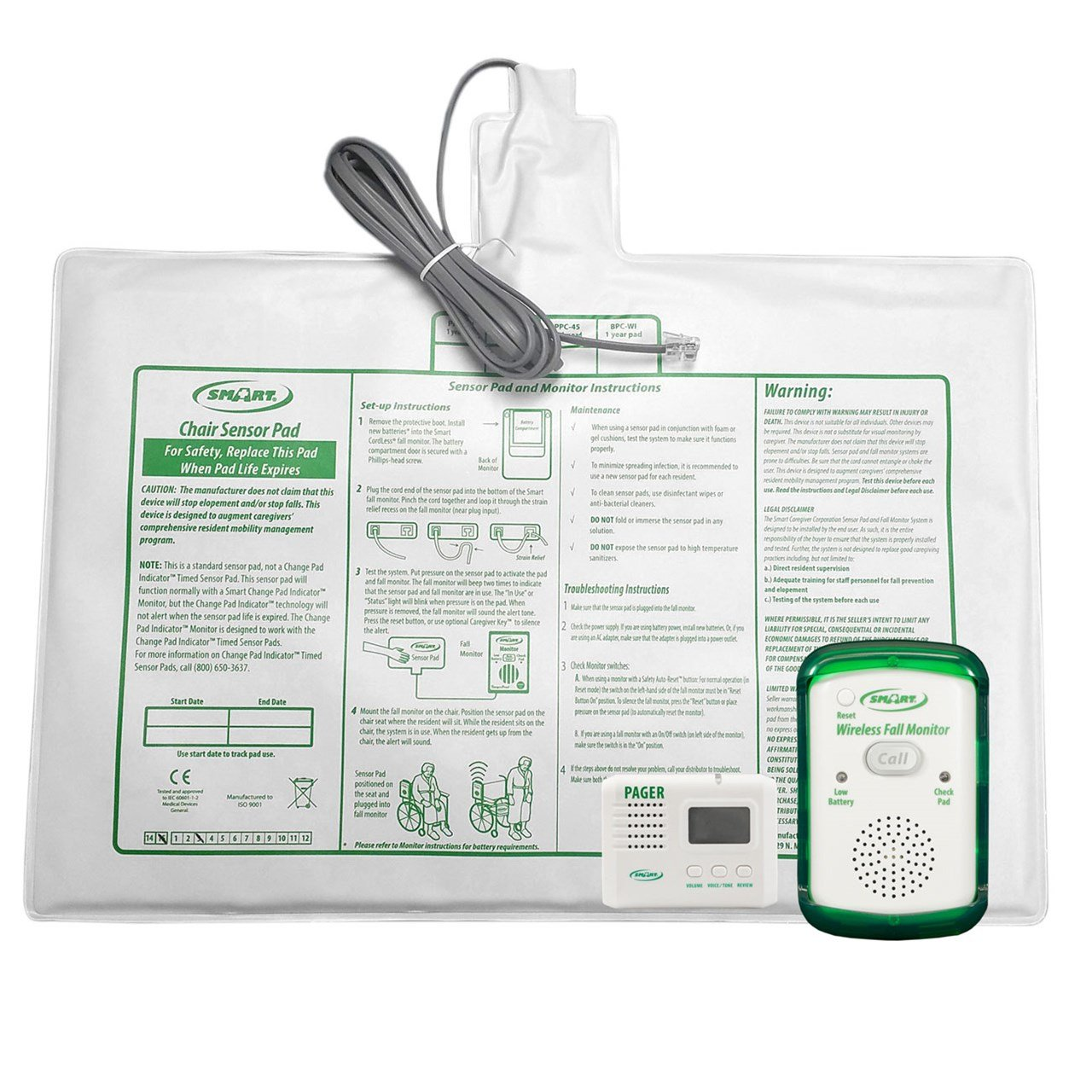 Wireless Fall Monitor-10x15-in Chair Pad-Pager Kit by Smart Caregiver