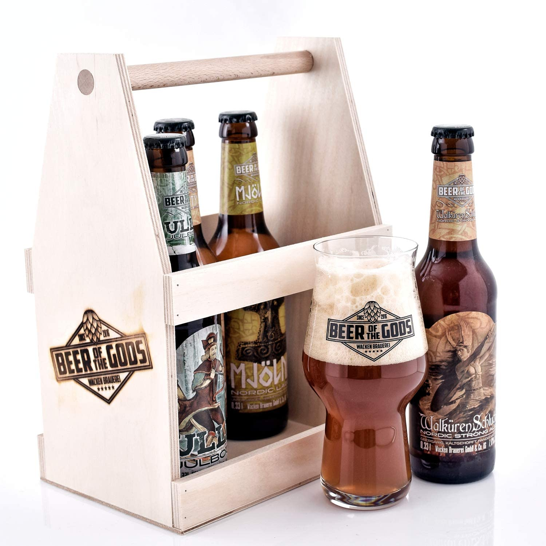 Wacken Brauerei Göttergabe - Un puñado de dioses en una caja de madera - Set de degustación de cervezas caseras - 5 cervezas de los dioses y vaso de cristal con logo