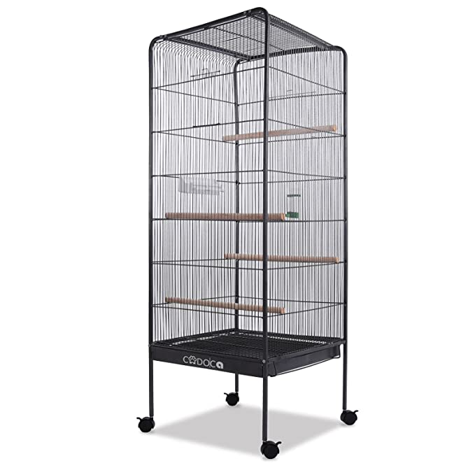Deuba®Jaula de pájaros | XL | 13,5 kg | Con ruedas giratorias | 146 cm | casa para pájaros | Incluye accesorios | Jaula grande | Bandeja extraíble ...