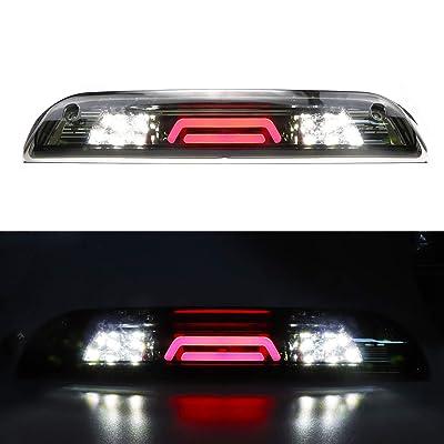 for 14 15 16 17 18 Chevy Silverado/GMC Sierra 1500 2500HD 3500HD LED 3rd Third Brake Light Cargo Lamp High Mount Stop light Chrome Housing + Smoke Lens: Automotive