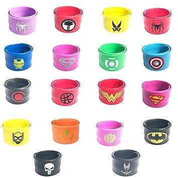 Resultado de imagen de KRUCE 18 Piezas Bandas Slap de Superhéroe para Niños Niños y Niñas, Superhéroe Pulsera Fiesta de Cumpleaños Suministros Favores