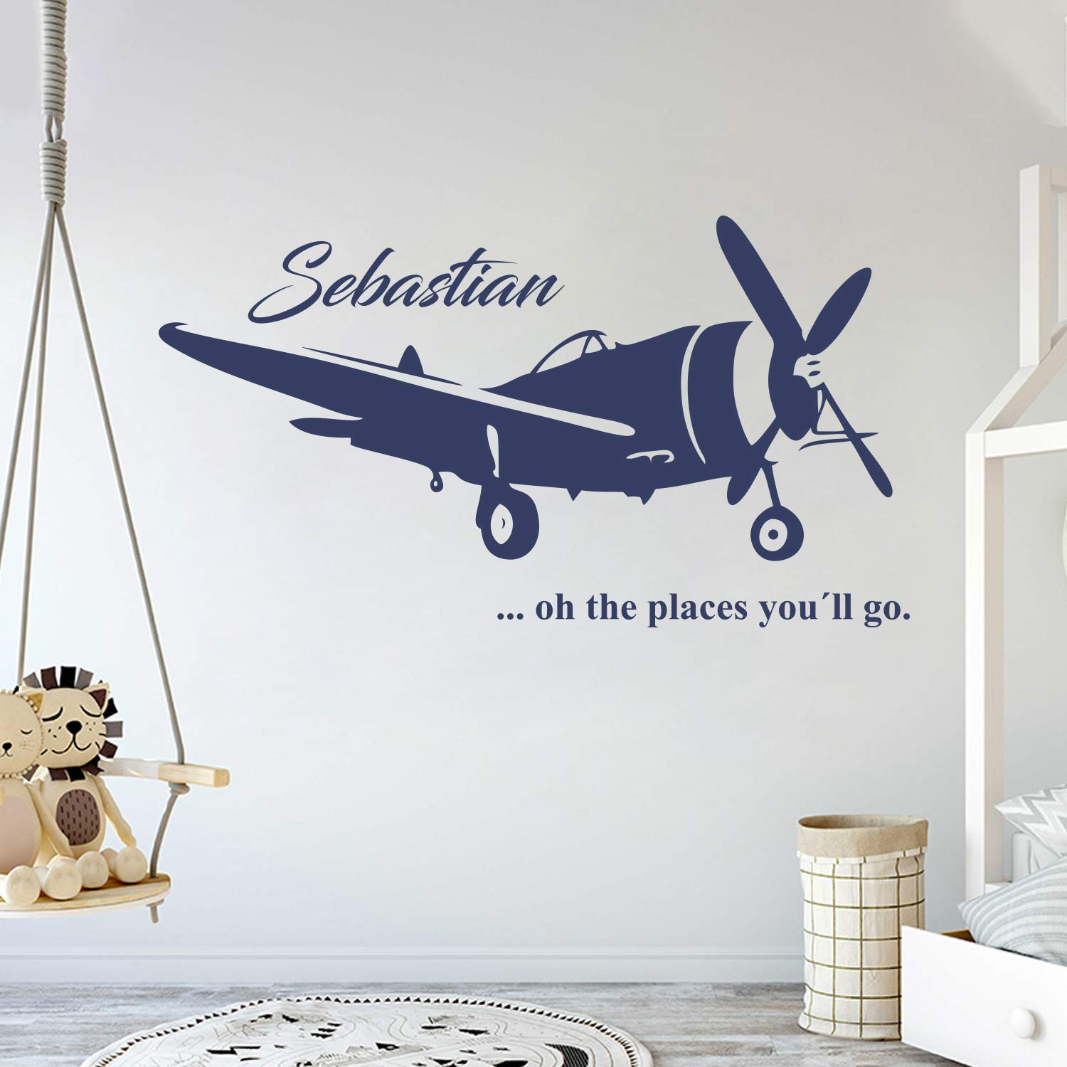 Custom Name Transportation Theme - Airplane in The Sky for My Baby - Baby Boy/Girl - Wall Decal Nursery for Home Bedroom Children (AM) (Wide 40'' x 22'' Height) by cryptonite