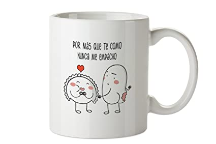 Planeta Gifts Taza San Valentín Croqueta y Empanadilla, Cerámica, Blanco, 8x10x10 cm