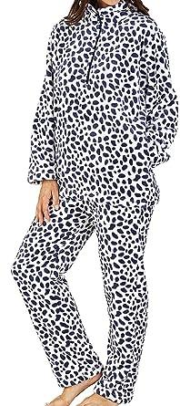77f7e7e7f5 Slenderella Ladies Luxury Super Soft 280GSM Fleece Navy Blue Half Zip  Spotted Twosie Lounge Suit Pyjamas