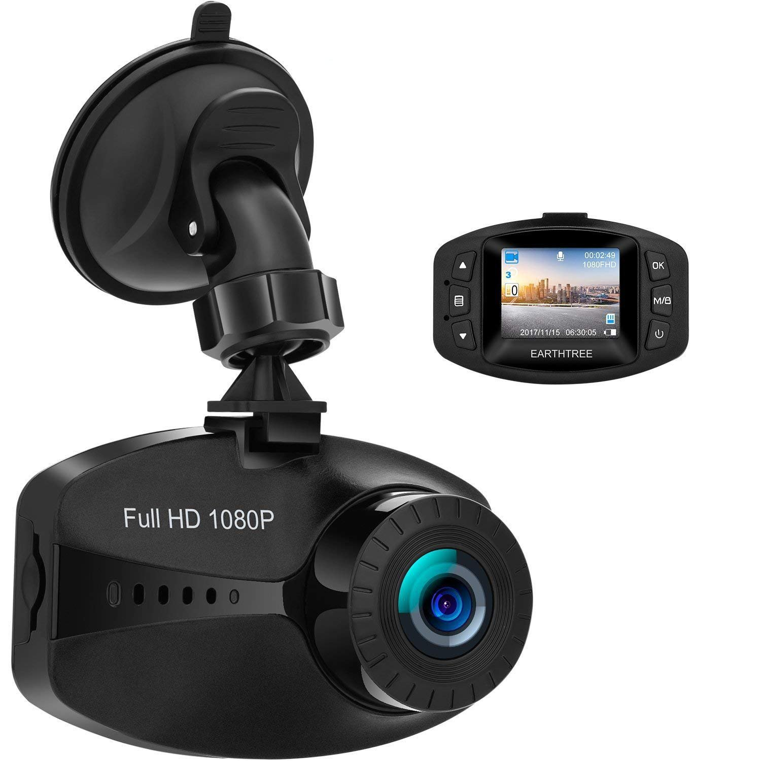 Earthtree In Car Dash Cam FHD 1080P Mini Car Dashboard Camera with Sony Sensor WDR G-Sensor Loop Recording Motion Detection and Parking Monitor DC30