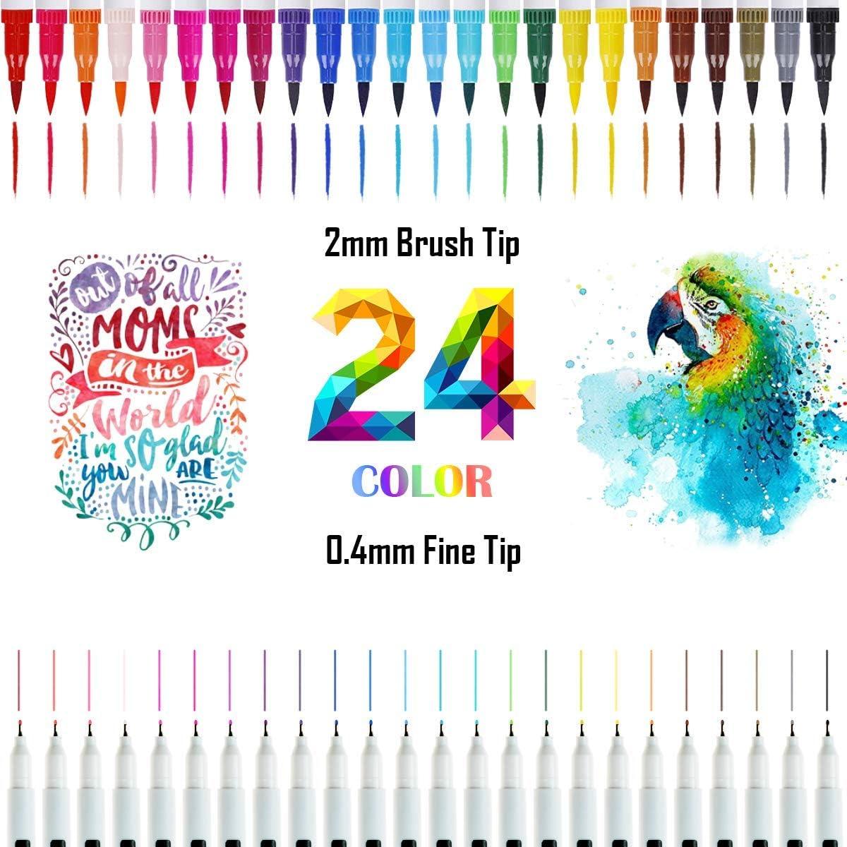Rotuladores de Punta Doble, 24 Colores Rotuladores Punta Pincel, Pinceles Acuarela para Dibujo, Boceto, Diseño, Firma, Cómic (Blanco)
